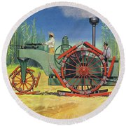 Steam Traction Engine Created To Work In The Sugar Plantations Of Cuba Round Beach Towel