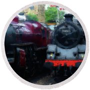 Steam Trains Round Beach Towel