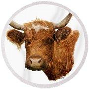 Steer Portrait - Barnyard Bunch Collection Round Beach Towel