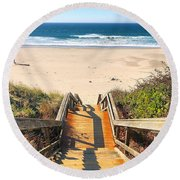 Round Beach Towel featuring the photograph Steps To The Beach by Brian Eberly