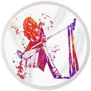 Steven Tyler Microphone Aerosmith Watercolor 0 Round Beach Towel