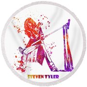 Steven Tyler Microphone Aerosmith Watercolor 02 Round Beach Towel