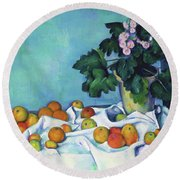 Still Life With Apples And A Pot Of Primroses - Digital Remastered Edition Round Beach Towel