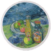 Still Life With Bottles And Fruit, 1900 Round Beach Towel