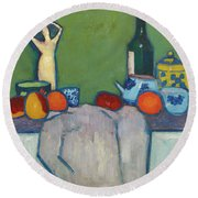 Still-life With Fruit, Figure And Bottle, 1907 Round Beach Towel