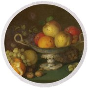 Still Life With Fruit, 1844 Round Beach Towel