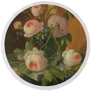 Still Life With Roses, Circa 1860 Round Beach Towel