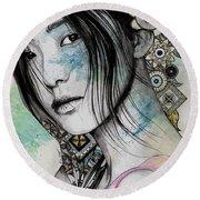 Stoic - Asian Girl Street Art Portrait With Mandala Doodles Round Beach Towel