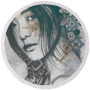Stoic - Autumn - Asian Woman Portrait With Mandalas Round Beach Towel