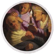 Stone Operation, Allegory Of Touch Round Beach Towel
