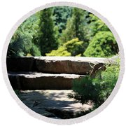 Stone Stairs In Chicago Botanical Gardens Round Beach Towel