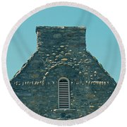 Stone Topper On Building Round Beach Towel