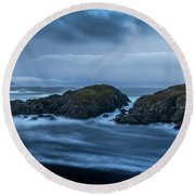 Storm At The Sea Round Beach Towel
