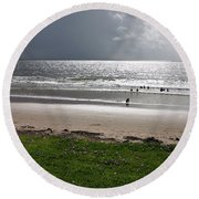Storm Brewing Over The Sea Round Beach Towel