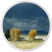 Round Beach Towel featuring the photograph Storm Brewing by Rosanne Licciardi
