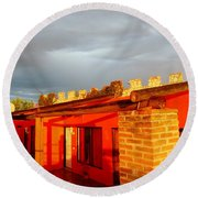 Round Beach Towel featuring the photograph Storm Brewing, Sun Setting by Rosanne Licciardi