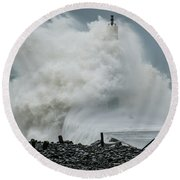 Storm Brian Hitting Aberystwyth Lighthouse Round Beach Towel