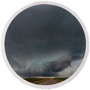 Storm Chasin In Nader Alley 008 Round Beach Towel