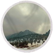 Storm Clearing Over Flatirons Round Beach Towel