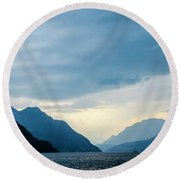 Storm Clouds On Lake Lucerne Round Beach Towel