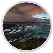 Storm Coastline Round Beach Towel