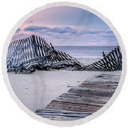 Storm Fence Sunrise Round Beach Towel