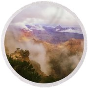 Storm In The Canyon Round Beach Towel