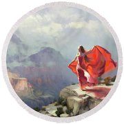 Round Beach Towel featuring the painting Storm Maiden by Steve Henderson