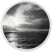 stormy coastline in northern Norway Round Beach Towel