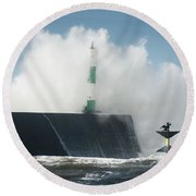 Stormy Sea And A Cormorant Round Beach Towel