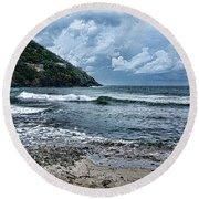 Stormy Shores Round Beach Towel