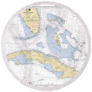 Straits Of Florida Nautical Chart 11013 Round Beach Towel
