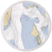 Straits Of Florids, Eastern Part Noaa Chart 4149 Edited. Round Beach Towel