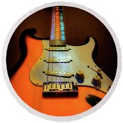 Stratocaster Triburst Glow Neck Series Round Beach Towel
