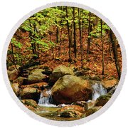 Round Beach Towel featuring the photograph Stream Rages In Ma by Raymond Salani III