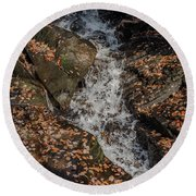 Round Beach Towel featuring the photograph Stream Through Rocks by Scott Lyons