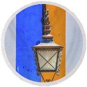 Street Lamp Of Obidos Round Beach Towel