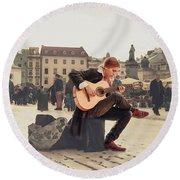 Street Music. Guitar. Round Beach Towel