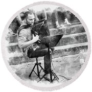 Street Musician In Florence Round Beach Towel