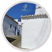 Streets Of A Medieval Castle. Alentejo Round Beach Towel