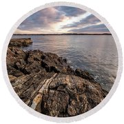Striations. Leading Lines In The Rocks Round Beach Towel