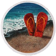Round Beach Towel featuring the painting Stuck In The Sand by Darice Machel McGuire