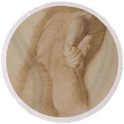 Study After Agasias Of Ephesus, Gladiator Borghese Round Beach Towel
