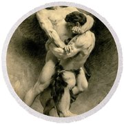 Study For Jacob Wrestling With The Angel, 1876 Round Beach Towel