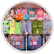 Stuffed Animals And Cartoon Characters Round Beach Towel