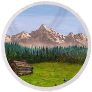 Round Beach Towel featuring the painting Stump by Kevin Daly