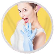 Stunned Cleaning House Wife Wearing Rubber Glove Round Beach Towel