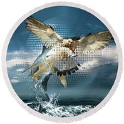 Subliminal Message Or  Optical Illusion Of Conscious Perception Round Beach Towel