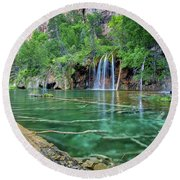 Round Beach Towel featuring the pastel Submerged Log, Hanging Lake Colorado by Nathan Bush