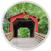 Sugar Creek Covered Bridge Round Beach Towel